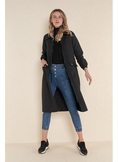 Z Giyim Beli Bağlamalı Fermuarlı Trençkot Siyah